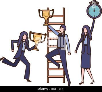 Le donne d'affari con set di icone Foto Stock