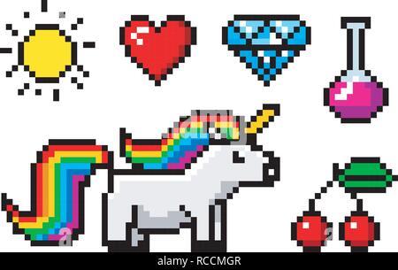 Arte pixel a 8 bit oggetti. Carattere unicorn e il trofeo. Retrò le attività di gioco. Set di icone. vintage video computer portici. illustrazione vettoriale. Foto Stock