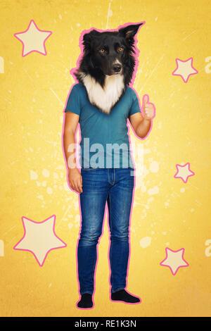 L'arte contemporanea collage a piena lunghezza ritratto positivo con testa di cane uomo che mostra il pollice fino feedback come simbolo. Stile moderno pop art zine concetto della coltura Foto Stock
