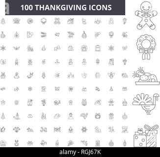 Thankgiving linea modificabile icone, 100 set di vettore, raccolta. Thankgiving contorno nero illustrazioni, segni, simboli Foto Stock