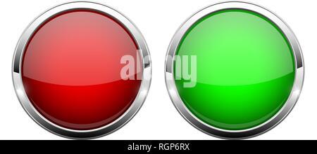 Il rosso e il verde i pulsanti di vetro. Shiny round 3d web icone Foto Stock