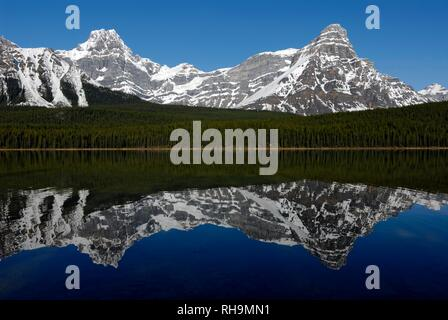 Picco Howse e Monte Chephren, destra, riflesso nel lago di uccelli acquatici, il Parco Nazionale di Banff, montagne rocciose, provincia di Alberta Foto Stock