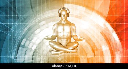 Uomo con le cuffie per ascoltare musica in meditazione Foto Stock