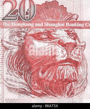 British lion sul frammento di vecchi venti dollari di Hong Kong banconota close-up. Coralli viventi nei toni del colore immagine Foto Stock