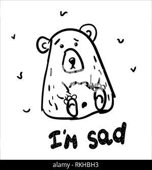 Disegnato a mano orso isolato. Con la scritta io sono triste. In bianco e nero disegno a mano libera. Doodle illustrazione vettoriale. Foto Stock