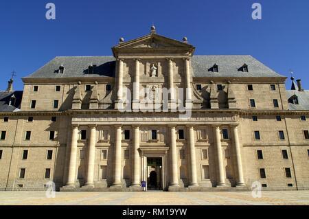 San Lorenzo del El Escorial (Comunità di Madrid). Il Monastero reale di San Lorenzo de El Escorial. Foto Stock