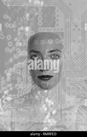 Intelligenza artificiale e cibernetica, immagine concettuale. Foto Stock