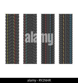 Quattro diverse tracce di pneumatici con le linee di colore isolato su sfondo bianco Foto Stock