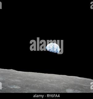 Il iconic foto della Terra vista dallo spazio per la prima volta via Apollo 8, Dicembre 24th, 1968 Foto Stock