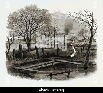 La devastante esplosione presso San Edmund la principale miniera di carbone Barnsley: Trench tagliato alla Dearne e la colomba Canal per lo scopo di allagamento del Pit 1862 Foto Stock