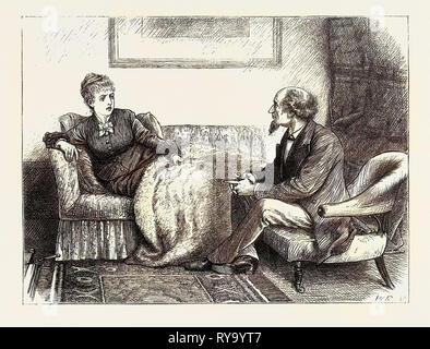 Spiriti nero e bianco: 'My Lady nella sua energia fosse seduto in posizione verticale sul divano, le sue guance sono state bruciando rosso, e i suoi occhi risplendeva Foto Stock
