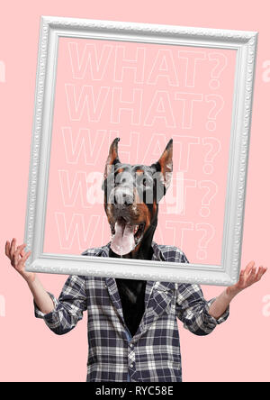 L'arte contemporanea collage o ritratto di sorpresa con testa di cane l'uomo. Stile moderno pop zine concetto della coltura. Foto Stock