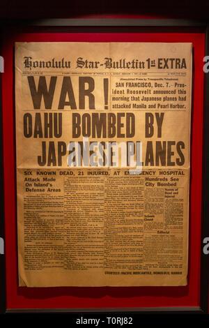 Il Star-Bulletin Honolulu il 7 dicembre 1941 il seguente attacco giapponese a Pearl Harbor, Mémorial de Caen (Caen Memorial), in Normandia, Francia. Foto Stock