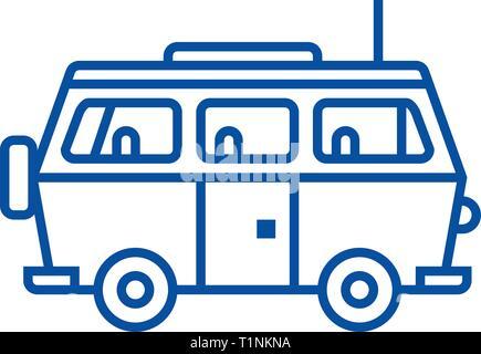 Minivan corsa,famiglia auto icona linea concept. Minivan corsa,famiglia auto piatto simbolo del vettore, segno, illustrazione di contorno. Foto Stock