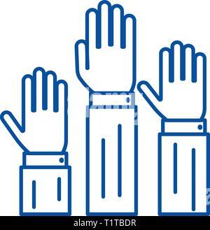 Diritti,tre mani fino icona linea concept. Diritti,tre mani fino piatto simbolo del vettore, segno, illustrazione di contorno. Foto Stock