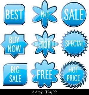 Set di blu lucido vetro colorato pulsanti, illustrazione vettoriale Foto Stock