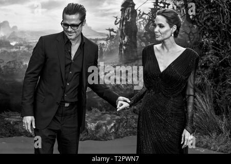 Angelina Jolie e Brad Pitt arrivano per la premiere di 'Maleficent' a Londra il 08.05.2014. Foto Stock