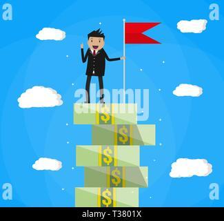 Happy businessman con flag di vincitori in piedi sul denaro scale. illustrazione vettoriale in stile piatto su sfondo blu con le nuvole Foto Stock