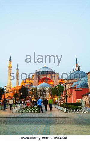 Hagia Sophia in Istanbul, Turchia presto la sera Foto Stock