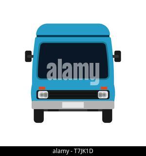 Van blu vista anteriore illustrazione auto. Mezzi di trasporto di consegna icona vettore carrello. Cartoon business travel il transito Foto Stock
