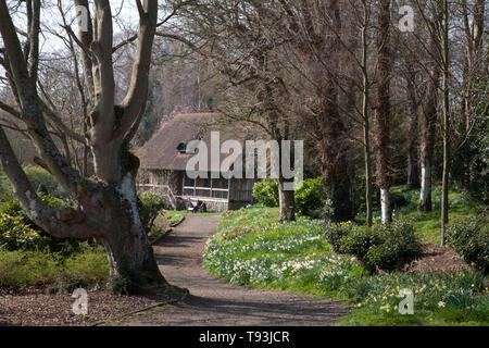 Capanna in aera boscoso al castello di Leeds maidstone kent england Foto Stock