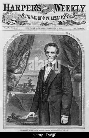 L'on. Abraham Lincoln, nato nel Kentucky, 12 febbraio 1809 (fotografata da Brady), Copertura di Harper's rivista settimanale, 10 novembre 1860 Foto Stock