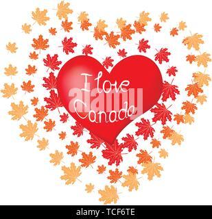 Cuore rosso e la silhouette della città di Toronto, adesivi di carta. Scheda di San Valentino in carta stile d'arte. Foto Stock