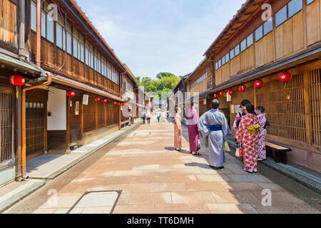 Higashi Chaya distretti, un storiche strade di Kanazawa, Giappone. Foto Stock
