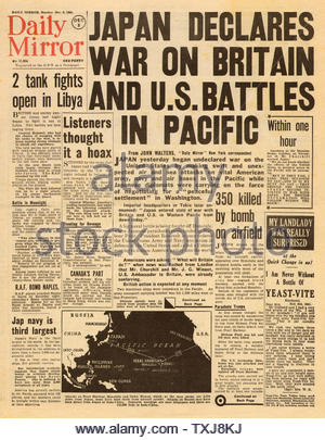 1941 Daily Mirror attacco giapponese a Pearl Harbor Foto Stock