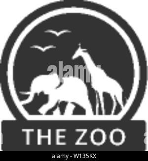Lo Zoo di icona di gate in colore singolo. Parco Animali safari della giungla Foto Stock