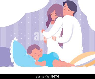 I genitori con bambino dorme illustrazione vettoriale design Foto Stock