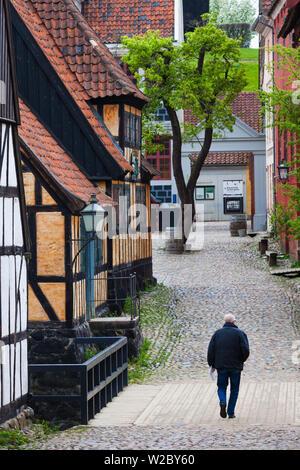 Danimarca, nello Jutland, Aarhus, Den Gamle By, ricostruire città vecchia, metà degli edifici con travi di legno Foto Stock