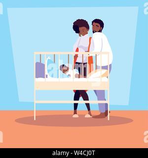 I genitori afro osservando di baby boy sleeping illustrazione vettoriale design Foto Stock