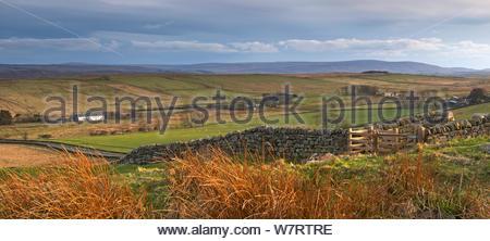 Campagna di spazzamento di Northumberland National Park, visto da balze di acciaio, Northumberland, Inghilterra. Aprile 2013. Foto Stock