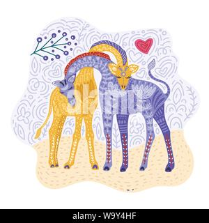 Cartoon giraffe vettore illustrazione piatti in stile scandinavo. Le giraffe matura nell'amore. Foto Stock