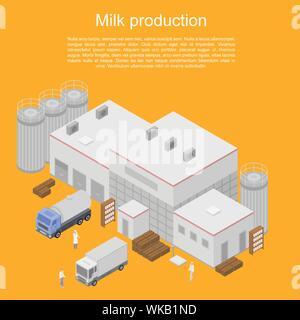 La produzione di latte concept banner, stile isometrico Foto Stock