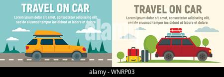 Viaggio di famiglia sul banner auto set. Illustrazione piano di viaggio con la famiglia sul vettore auto set di banner per il web design Foto Stock