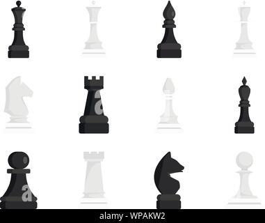 Icona di scacchi set. Appartamento set di scacchi icone vettoriali per il web design Foto Stock