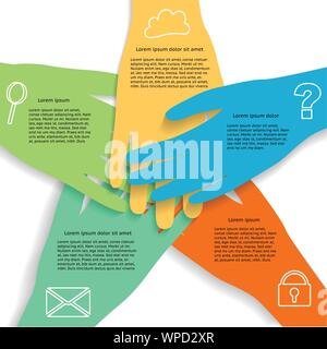 Le mani Una infografica che mostra il lavoro di squadra di business con icone raggruppate e stratificati Foto Stock