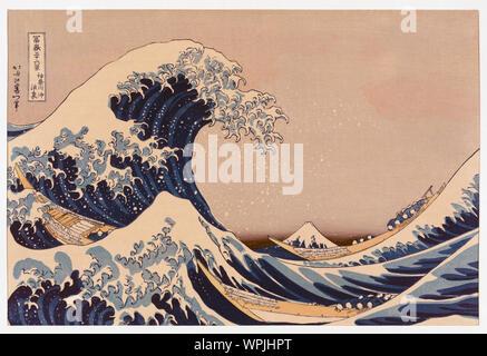 La grande onda di Kanagawa off conosciuta anche come la grande onda o semplicemente l'onda dopo una stampa woodblock dal giapponese ukiyo-e artista Katsushika Hokusai, 1760 - 1849. La grande onda di Kanagawa off è diventato il più noto di una serie di stampa noti come trentasei vista del Monte Fuji creato da Hokusai all'inizio del 1830. Foto Stock