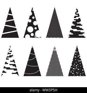 Set di geometrica nera di alberi di Natale. Illustrazioni vettoriali. Foto Stock