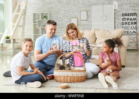 Famiglia con simpatici gattini divertenti a casa Foto Stock