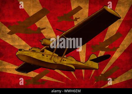 Illustrazione della guerra mondiale due costruttiva PBY Catalina Flying Boat mare piano retrò in pieno volo fatto in grunge stile retrò. Foto Stock