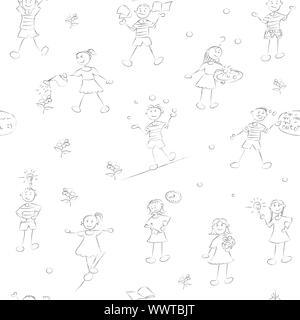 Disegnato a mano i bambini della scuola pattern con i ragazzi e le ragazze scarabocchi su bianco Foto Stock