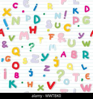 Lettere di divertenti adesivi pattern su una carta a righe Foto Stock