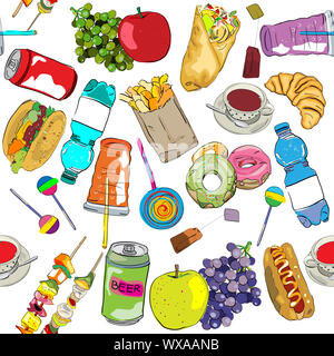Disegnata da fast food pattern di elementi Foto Stock