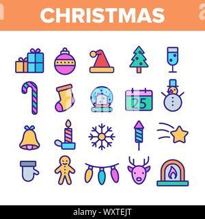 Natale elementi di colore vettore set di icone Foto Stock