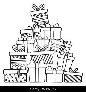 Doni design, Buon Natale stagione scheda decorazione invito celebrazione e tema vacanze illustrazione vettoriale Foto Stock