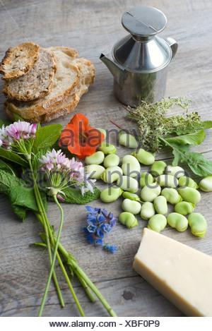 Fava e tartine al di erbe con fiori di campo Foto Stock