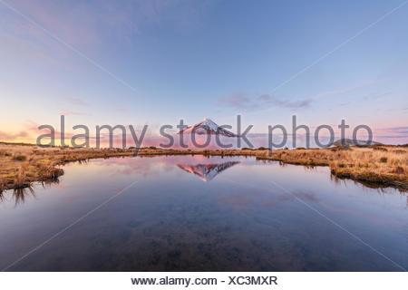 La riflessione in Pouakai Tarn lago, Nuvole rosa intorno uno stratovulcano Mount Taranaki o Mount Egmont al tramonto, Egmont National Park Foto Stock